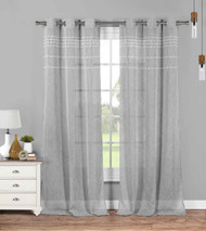 Set of Two (2) Gray Sheer Grommet Window Curtain Panels: Gray with White Stripes and Tufts, 76W x 84L