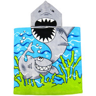 100% Cotton Kid's/Children's Hooded Bath/Beach Character Towel (Shark)