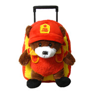 2-in-1 Kids Plush Rolling Suitcase/Backpack with Stuffed Animal: Fire Chief Bear Plush Toy with Removable Red Bag