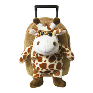 2-in-1 Kids Plush Rolling Suitcase/Backpack with Stuffed Animal: Giraffe Plush Toy with Removable Brown Bag