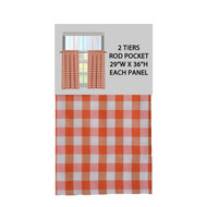 "Orange Gingham Check Kitchen Window Curtain Cafe/Tiers Set: Plaid, Cotton Rich, 29""W x 36""H Each Panel)"