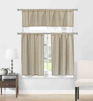 Natural Cotton Blend Taupe Beige and Linen 3 Piece Kitchen Window Curtain/Cafe Tiers Set: Plaid, 1 Valance, 2 Tier Panels