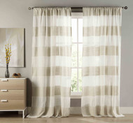 Set of Two (2) Extra Long Cabana Stripe Window Curtain Panel: Natural Linen Blend, White and Linen Stripes, 108W x 112L