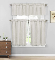 3 Piece Cafe Tiers Window Curtain Set Taupe and Gold Diamond Design One Valance Two Tiers Poly Cotton Blend