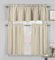 Three Piece Cotton Rich Kitchen/Cafe Tier Window Curtain Set: Striped pattern, One Valance, two Tiers (Burgundy, Taupe and Beige)
