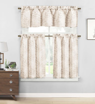 3 piece Cafe Tiers Window Curtain Set: Botanical Design, One Valance, Two Tiers (Taupe and Beige)