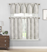 3 piece Cafe Tiers Window Curtain Set: Botanical Design, One Valance, Two Tiers (Gray and Silver)