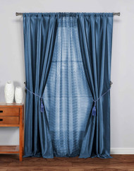 "5 Pc Complete Window Treatment Set: 2 Faux Silk Panels, 1 Sheer Panel, 2 Rope Tie Backs 74""W x 84""L (Blue)"