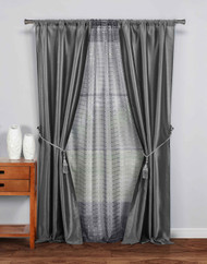 "5 Pc Complete Window Treatment Set: 2 Faux Silk Panels, 1 Sheer Panel, 2 Rope Tie Backs 74""W x 84""L (Gray)"