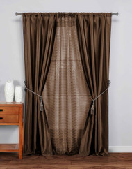 "5 Pc Complete Window Treatment Set: 2 Faux Silk Panels, 1 Sheer Panel, 2 Rope Tie Backs 74""W x 84""L (Chocolate)"