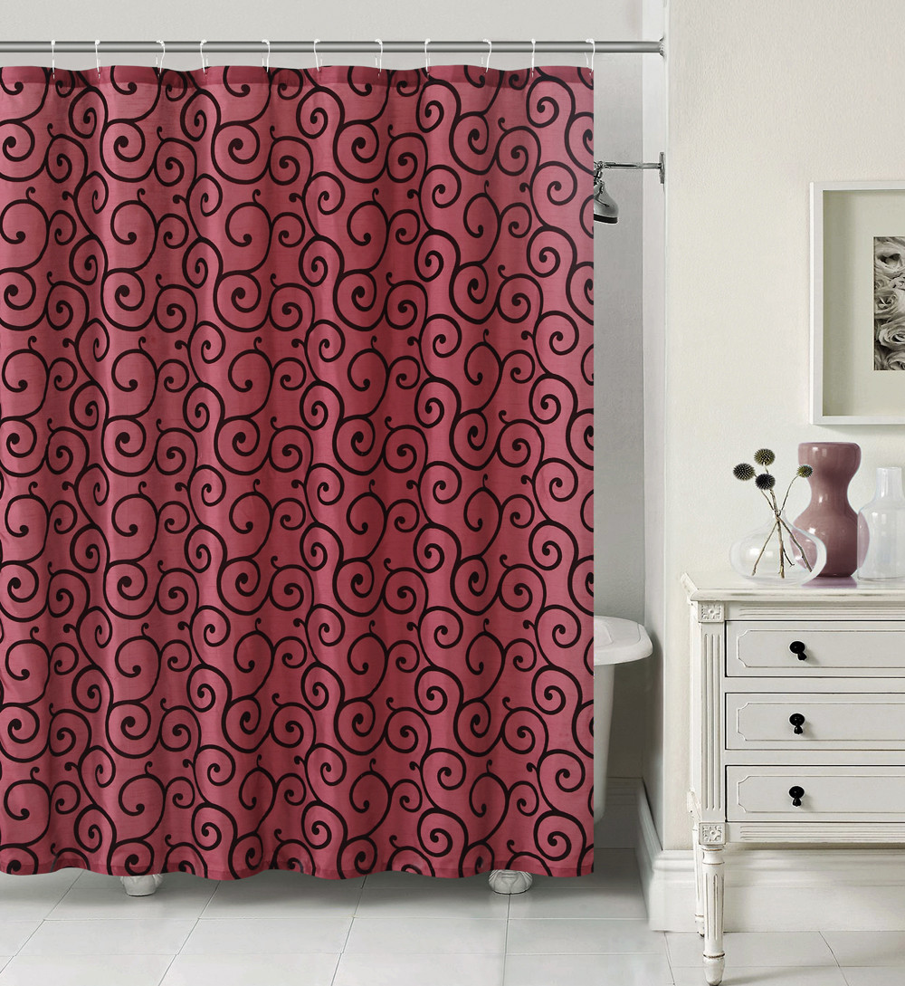 Fabric Shower Curtain Size 72in X 72in 183cm X 183cm And Twelve 12 Silver Rollerball Shower Hooks Bath Set Burgundy And Black