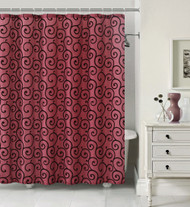 FABRIC SHOWER CURTAIN Size: 72in x 72in (183cm x 183cm) and twelve (12) Silver Rollerball Shower Hooks Bath Set (Burgundy and Black)