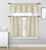3 piece Cafe Tiers Kitchen Window Curtain Set: Moroccan Trellis Design, One Valance, Two Tiers (Taupe and Beige)
