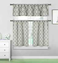 3 piece Cafe Tiers Kitchen Window Curtain Set: Moroccan Trellis Design, One Valance, Two Tiers (Gray and Silver)