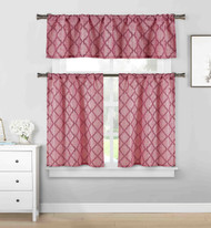 3 piece Cafe Tiers Kitchen Window Curtain Set: Moroccan Trellis Design, One Valance, Two Tiers (Burgundy and Garnet)