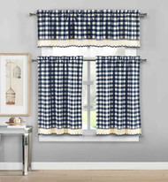 3 Piece Plaid, Checkered, Gingham Kitchen Curtain Set: 35% Cotton, 1 Valance, 2 Tier Panels, with Crochet Accent (Navy)