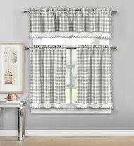 3 Piece Plaid, Checkered, Gingham Kitchen Curtain Set: 35% Cotton, 1 Valance, 2 Tier Panels, with Crochet Accent (Platinum)