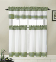 3 Piece Kitchen Cafe/Tiers Window Treatment Set: Pintuck Accent Stripes, 2 Tier Panels, 1 Valance (Sage)