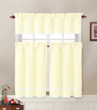 3 Piece Kitchen Cafe/Tiers Window Treatment Set: Pintuck Accent Stripes, 2 Tier Panels, 1 Valance (Ivory)