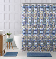 "Embossed Fabric Shower Curtain with Printed Floral Medallion Geometrical Design, 72"" x 72"" (Blue, Gold, Black and White)"