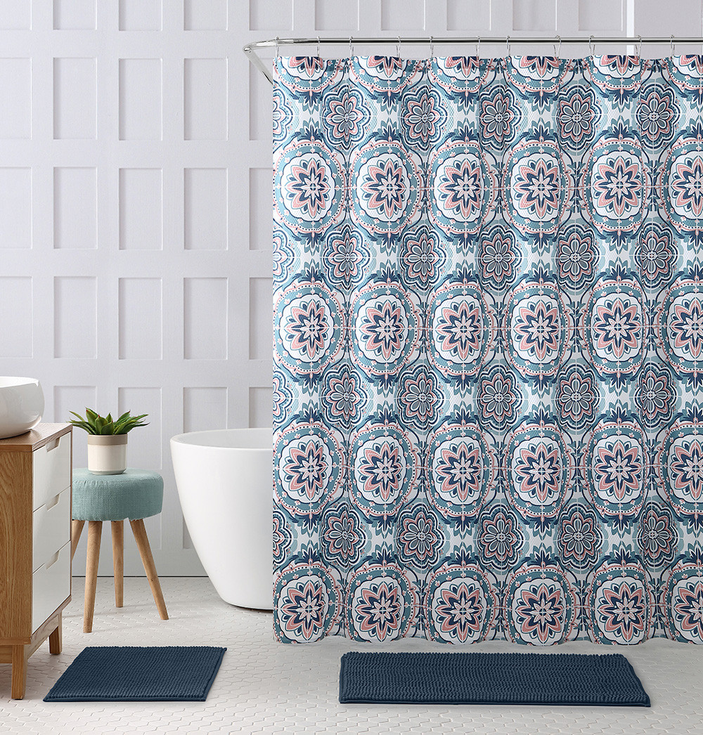 Embossed Fabric Shower Curtain With Printed Floral Medallion Geometrical Design 72 X 72 Teal Coral Navy And White