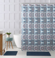 """Embossed Fabric Shower Curtain with Printed Floral Medallion Geometrical Design, 72"""" x 72"""" (Teal, Coral, Navy and White)"""