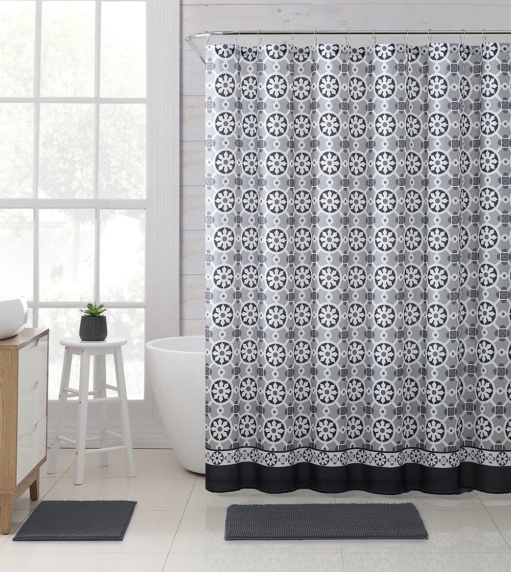 Gray Taupe Black And White Fabric Shower Curtain With Printed Floral Medallion Geometrical Design 72 X 72