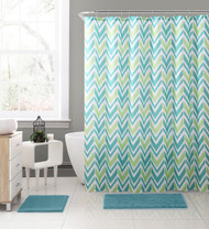 "Embossed Teal, Green and White Fabric Shower Curtain with Printed trendy Chevron Zig-Zag Geometrical Design, 72"" x 72"""