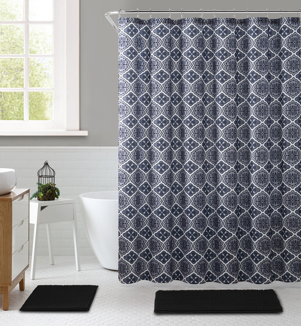 Gray Black And White Embossed Fabric Shower Curtain With Printed Trendy Floral Medallion Geometrical Design 72 X 72