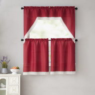 Red 4 Piece Kitchen Window Curtain Set: White Macrame Border, 2 Swag and 2 Tier Panels (Red)