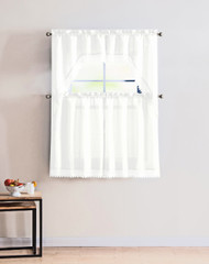 4 Piece Kitchen Window Curtain Set: Gold Macrame Border, 2 Swag and 2 Tier Panels (White)