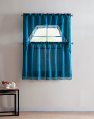 Blue 4 Piece Kitchen Window Curtain Set: Gold Macrame Border, 2 Swag and 2 Tier Panels