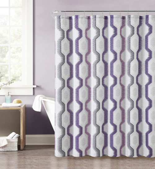 purple gray pink and taupe fabric shower curtain with printed vertical geometric design 72. Black Bedroom Furniture Sets. Home Design Ideas