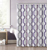 "Purple, Gray, Pink, and Taupe Fabric Shower Curtain with Printed Vertical Geometric Design, 72"" x 72"""