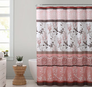 "Coral, Brown and White Fabric Shower Curtain with Printed Floral and Medallion Design, 72"" x 72"""