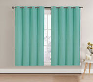"Aqua Single (1) Blackout Window Curtain Panel: Silver Metal Grommets, 52""W x 63""L"