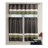 3 PC Small Window Curtain Set 1 Valance 2 Tiers Chocolate Brown with Pleated Green and Taupe Stripes