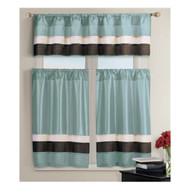 3 PC Small Window Curtain Set 1 Valance 2 Tiers Blue with Pleated Chocolate Brown and Taupe Stripes