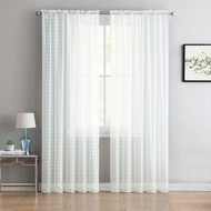 "Single (1) Sheer Rod Pocket Window Curtain Panel: 55""W X 90""L, Plaid/Check Design (Pure White)"