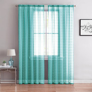 "Single (1) Sheer Rod Pocket Window Curtain Panel: 55""W X 90""L, Plaid/Check Design (Sky Blue)"
