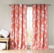"Two Cotton Rich Grommet Window Curtain Panels Coral and White Floral design 84"" Long"