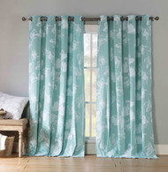 "Two Cotton Rich Grommet Window Curtain Panels Teal and White Floral design 84"" Long"