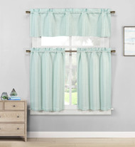 Kensie Home Jane Textured Kitchen Curtains: Subtle Pinstripe with Sequin Accents (Spa Blue)
