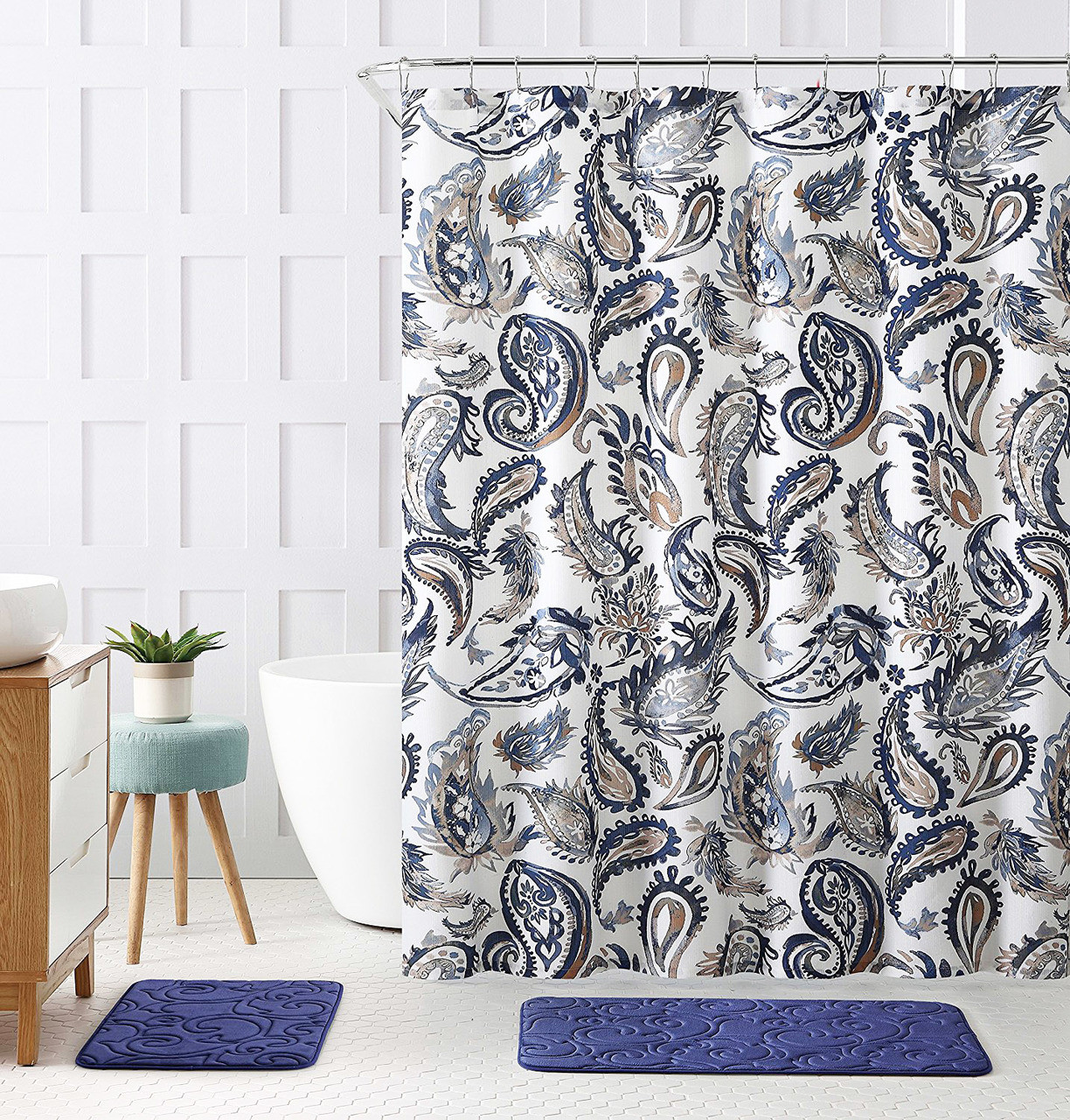 Decorative Navy Blue Gold Fabric Shower Curtain Watercolor Floral Paisley Design 72 X 72 Inch