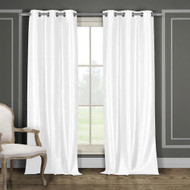 "Two (2) White Window Curtain Panels: Faux Silk, Silver Grommets, 76"" x 84"""