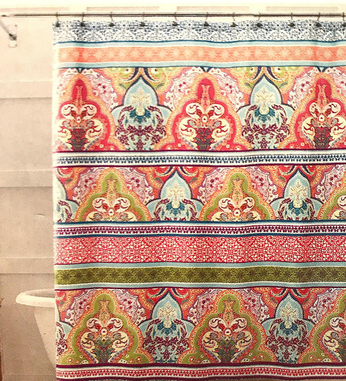 Blue Pink Green Boho Fabric Shower Curtain Floral Damask With Geometric Border Design Multi Colored 70 X 72 Inch