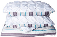 Full/Queen Size Removable Duvet Cover Set Reversible in White / Striped Elegant