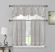 3 PC Sheer Window Curtain Set: Pleated Stripes with Ribbon, 1 Valance 2 Tiers (Gray-White)