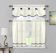 3 PC Sheer Window Curtain Set: Pleated Stripes with Ribbon, 1 Valance 2 Tiers (Off White-Navy)