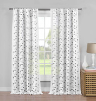 "Set of Two (2) Pure White Semi Sheer Rod Pocket Window Curtain Panels: Gray Metallic Leaf and Branch Design, 84"" Long"